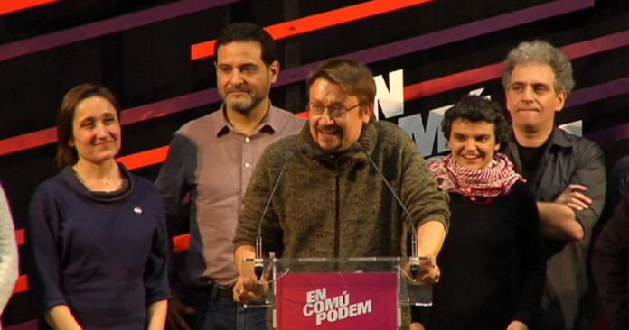 En comú Podem, la coalició de Podemos i altres partits d'esquerra, celebrant els resultats obtinguts en les eleccions del 20-D a Catalunya