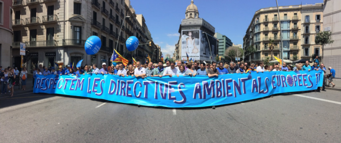 Capçalera política amb representació del Parlament de Catalunya, l'Ajuntament de Barcelona, la Generalitat, UGT, CCOO, Òmnium, ANC, Esquerra Republicana, Convergència Democràtica, CUP i Solidaritat Catalana, entre altres (fotografia: ANC)