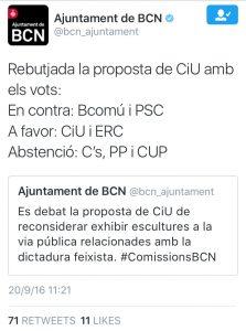 Detall de la piulada de l'Ajuntament de Barcelona.