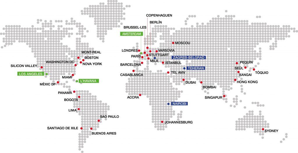 Mapa Oficines Exteriors de Comerç i d'Inversions de Catalunya | Govern de Catalunya