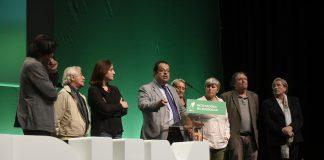 Joan Ignasi Elena, juntament amb la resta de l'executiva del Pacte, presentant els suports aconseguits | Pacte Nacional pel Referèndum