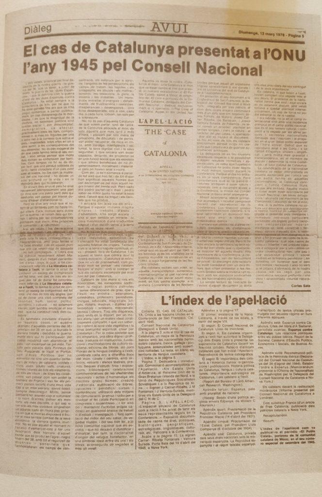 Imatge de l'article publicat al diari Avui