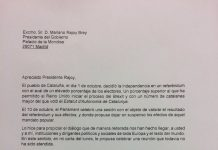 La carta que Puigdemont ha enviat a Rajoy com a segona resposta a la interpel·lació del president espanyol