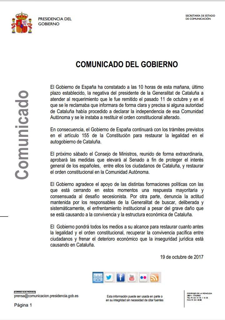 Carta del Gobierno de España en resposta a la segona carta de Carles Puigdemont