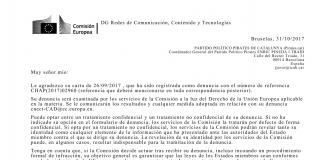 Resposta de la Comissió Europea a la denuncia de Pirates | Pirates de Catalunya