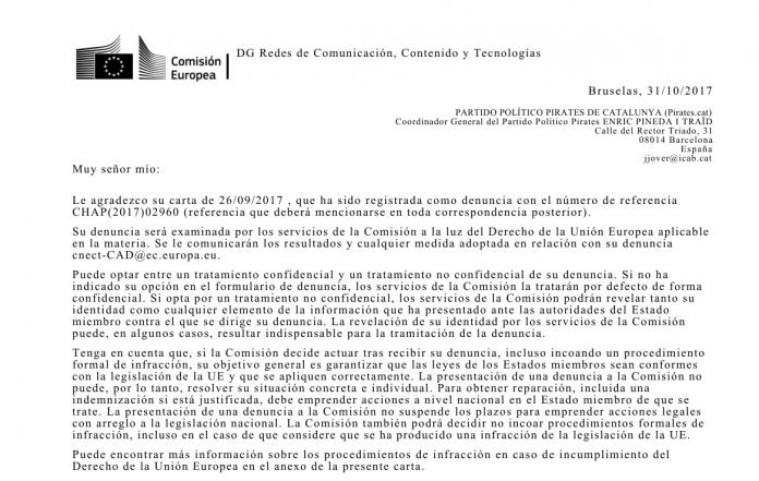 Resposta de la Comissió Europea a la denuncia de Pirates   Pirates de Catalunya