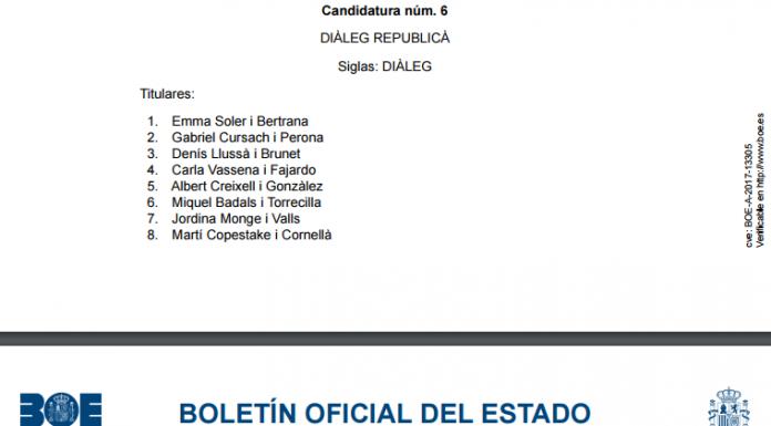 La llista per Barcelona de la candidatura 'Diàleg republicà' publicada al BOE