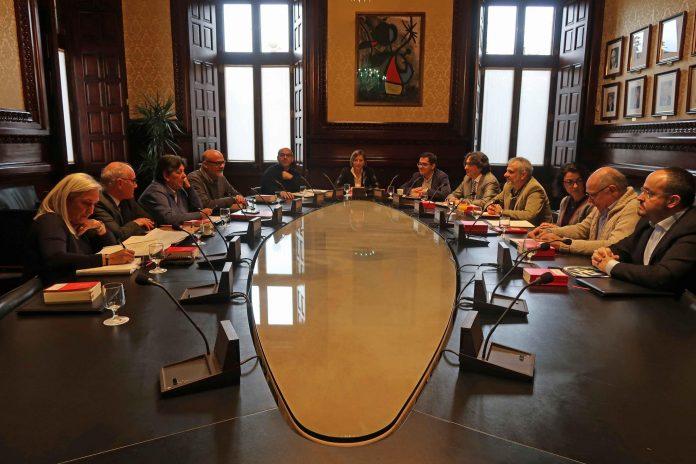 Un moment de la reunió d'aquest matí de la Mesa i els portaveus dels grups a la Diputació Permanent | Parlament de Catalunya