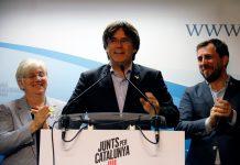 Puigdemont, Clara Ponsatí i Toni Comín valorant els resultats de les eleccions europees   JxCat