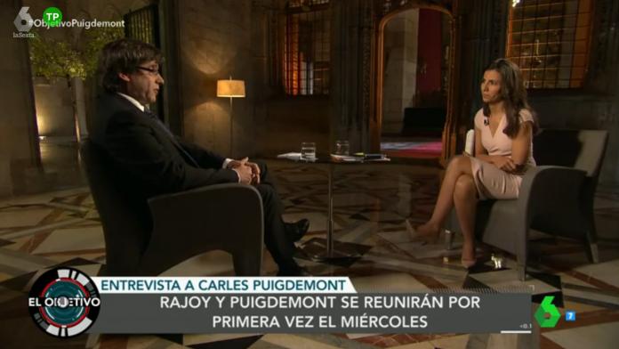 Moment de l'entrevista d'Ana Pastor a Carles Puigdemont