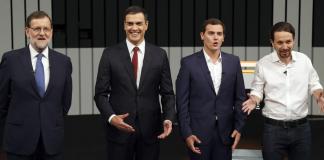 """Els participants del """"Debat a quatre"""" per a les eleccions al Congreso"""