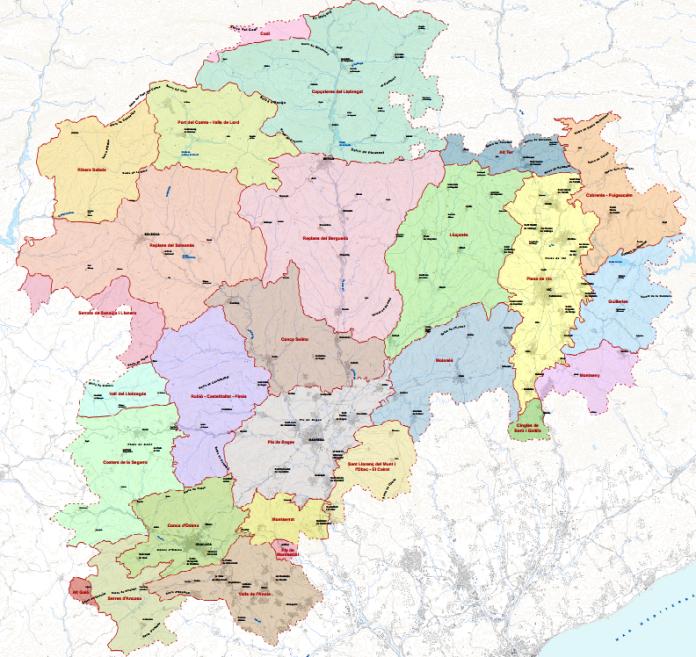 Mapa de les 27 unitats de paisatge de les Comarques Centrals