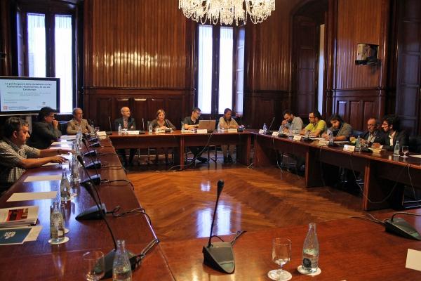Carme Forcadell durant l'acte de presentació del rellançament del portal Escó 136