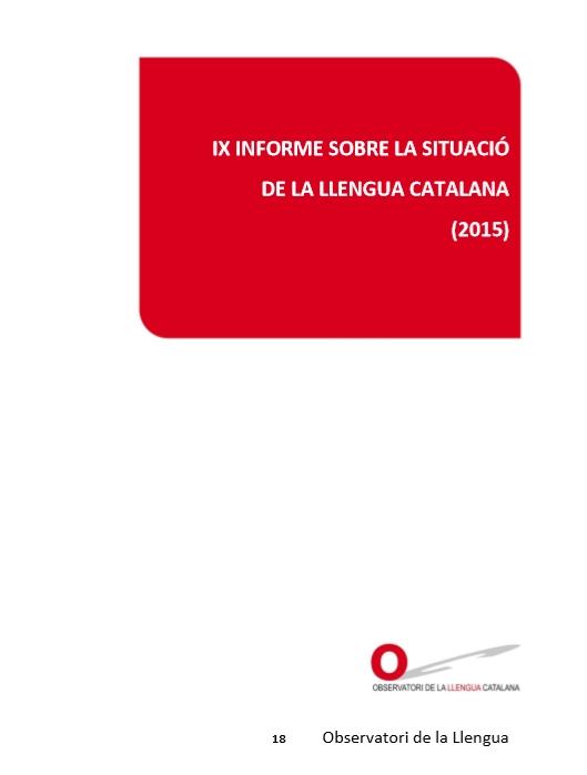 Portada del IX Informe sobre la situació de la llengua catalana (2015)
