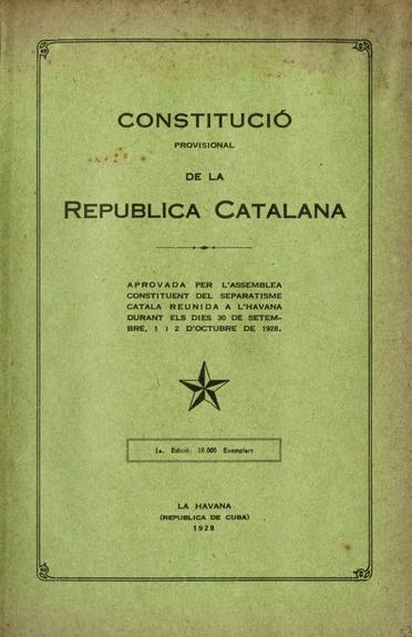 Portada de la Constitució de la República Catalana elaborada a l'Havana