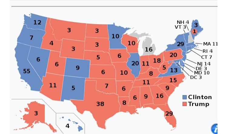 Mapa electoral 2016. Michigan (Trump) i New Hampshire (Clinton) estan en blanc perquè no han tancat l'escrutini.