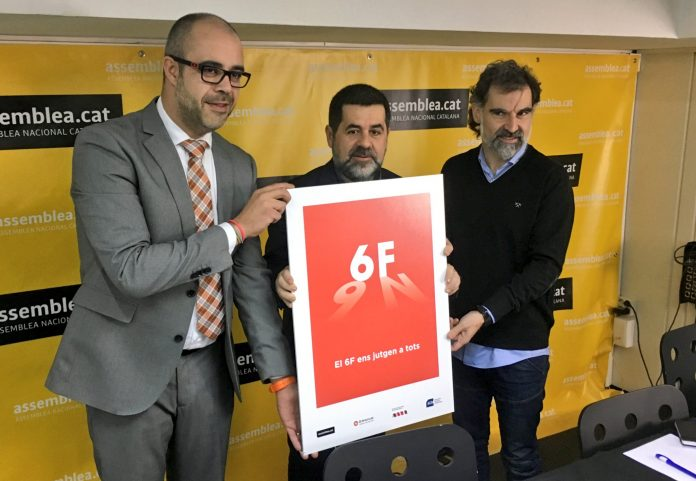 Buch, Sànchez i Cuixart presentant el cartell de la manifestació del 6F | ANC
