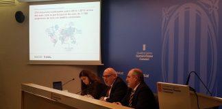 El conseller Jordi Baiget, el secretari d'Empresa i Competitivitat, Joan Aregio, i la directora d'Indústria Núria Betriu en la roda de premsa | Govern de Catalunya