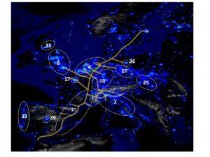 Figura 3. Megaregions with core network