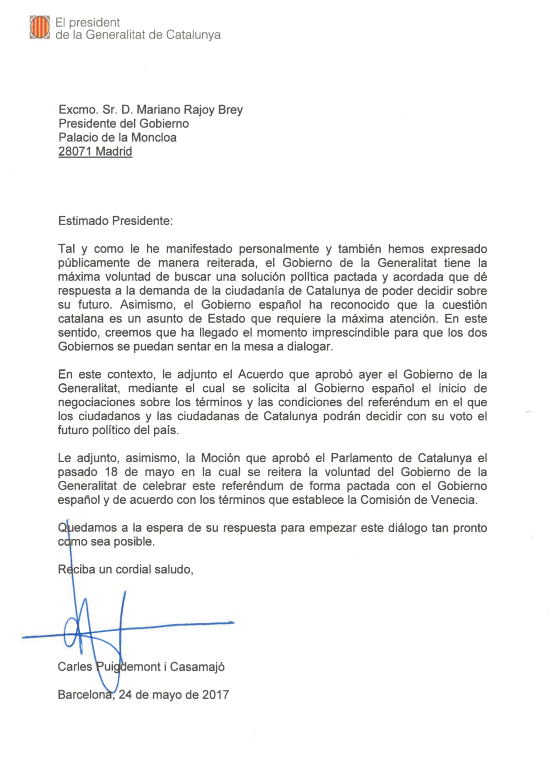 Carta del president Puigdemont adreçada a Rajoy per demanar-li acordar el referèndum
