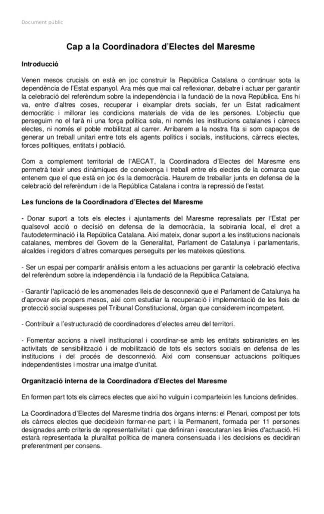 Document públic de la Coordinadora d'Electes del Maresme