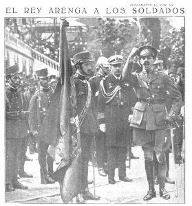 L'Arenga d'Alfons XIII als soldats. Font: Mundo Gràfico 7/09/17