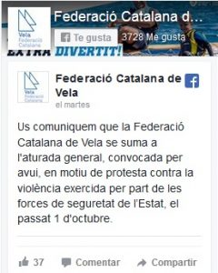 Adhesió de la Federació Catalana de Vela a l'aturada de país