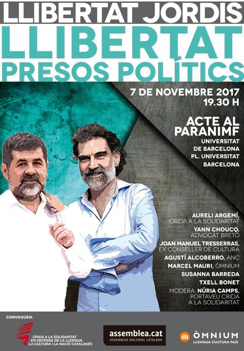 Cartell de l'acte: Llibertat Presos Polítics