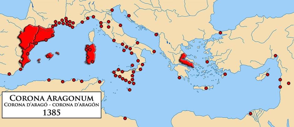 Mapa influència de la Corona d'Aragó³