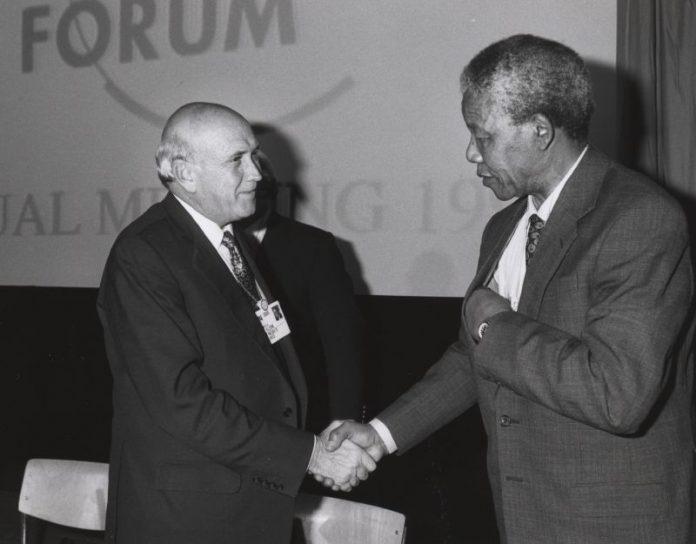 Frederik Willem de Klerk i Nelson Mandela al Fòrum Econòmic de Davos, 1992 | World Economic Forum (www.weforum.org)