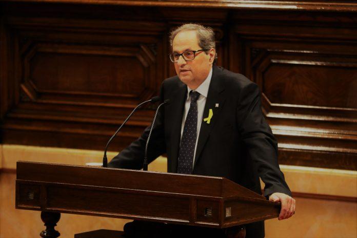 Quim Torra durant el discurs realitzat a la primera sessió d'investidura del Parlaament | Parlament de Catalunya (Miquel González de la Fuente)