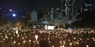 Acte de commemoració de la massacre de la Plaça de Tian'anmen al parc Victòria de Hong Kong
