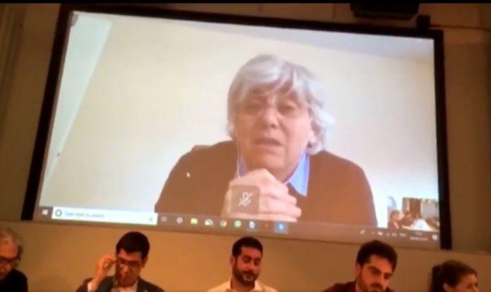 Intervenció a través de videoconferència de Clara Ponsatí durant l'acte de l'ANC de Londres