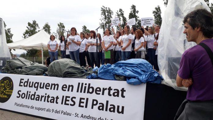 Moment de l'acte de suport als #9delPalau | Llorenç Prats