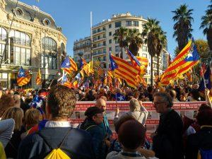Moment de la manifestació a Perpinyà