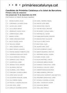 Butlleta electoral amb els candidats de Primàries Barcelona