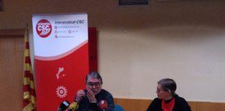 Roda de premsa de la Intersindical per anunciar la vaga del 7 febrer