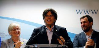 Puigdemont, Clara Ponsatí i Toni Comín valorant els resultats de les eleccions europees | JxCat
