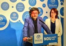 Toni Castellà durant la roda de premsa   Demòcrates de Catalunya