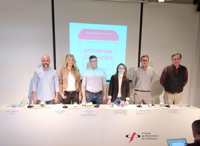Representants de Primàries Catalunya presentant la II Convenció Nacional. Al centre en Mario Soria i la Carolina Frías, nous portaveus nacionals de l'organització.