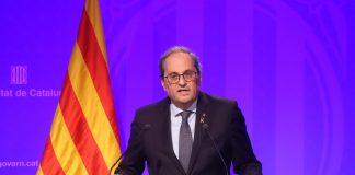 El president Torra durant la seva compareixença al Palau de la Generalitat | Generalitat de Catalunya